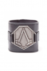 Assassins Creed, Pu Wristband With Metal Logo