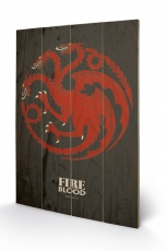 Game Of Thrones, Targaryen Holzbild 40 x 59 cm