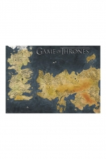 Game of Thrones, Westeros And Essos Antique Map Metallic...