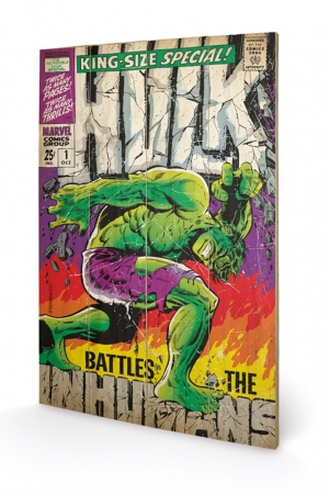 Hulk, Battles Humans Holzbild 40 x 59 cm