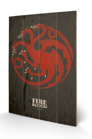 Game Of Thrones, Targaryen Holzbild 40 x 59 cm