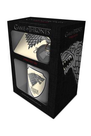 Game Of Thrones, Stark Mug, Coaster & Keychain Set