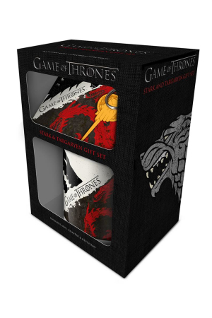 Game Of Thrones, Stark & Targaryen Mug, Coaster & Keychain Set