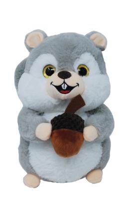 Plüschtier - Graues Eichhörnchen mit Nuss 2-fach 26cm