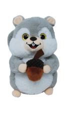 Plüschtier - Graues Eichhörnchen mit Nuss...